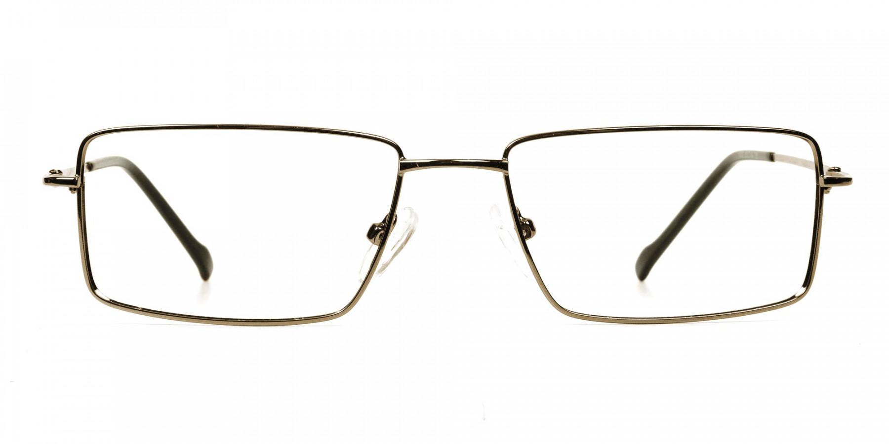 Rectangular Glasses in Gunmetal - 1
