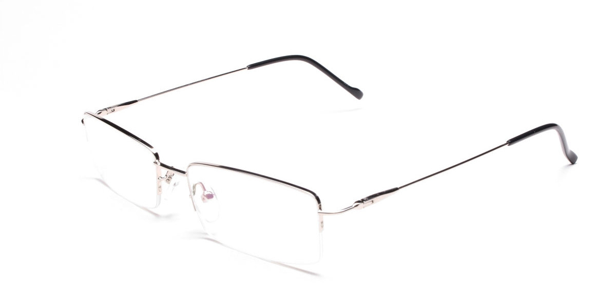 Silver Half-Rim Rectangular Glasses- 1
