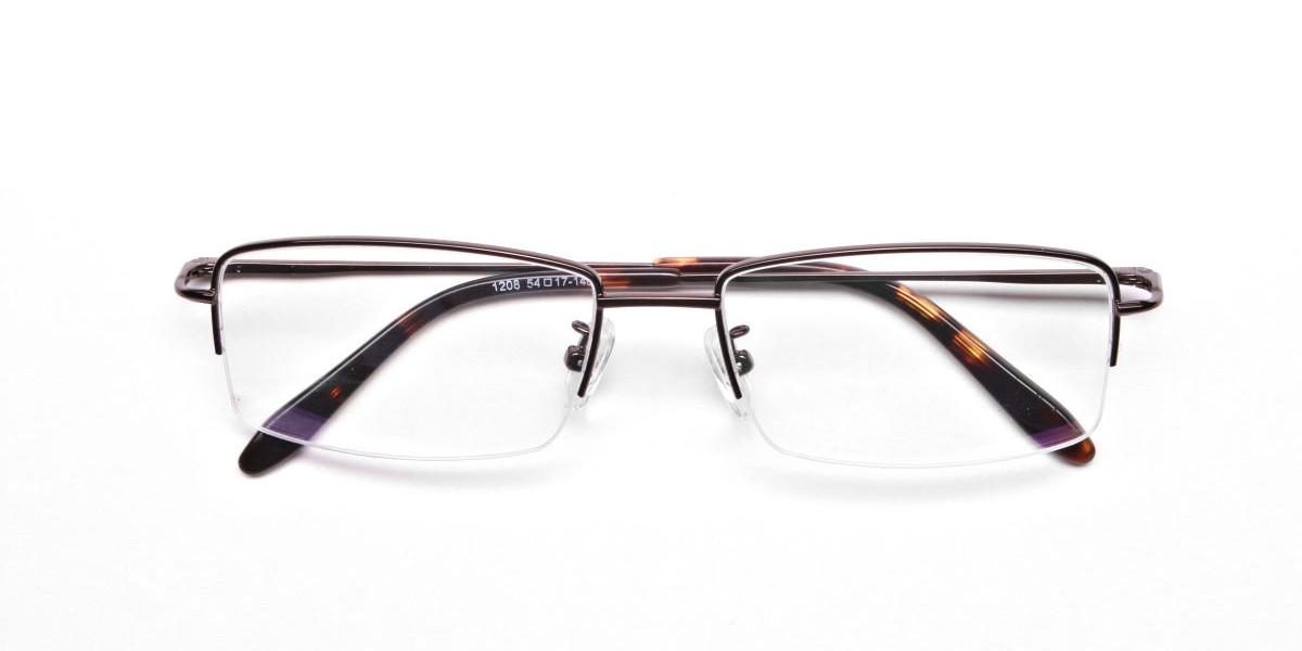 Brown Half Rim Rectangular Eyeglasses -1
