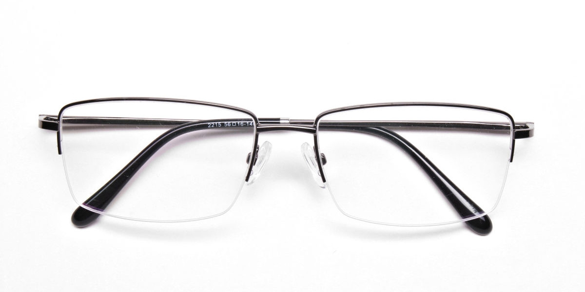 Rectangular Glasses in Gunmetal, Eyeglasses - 1