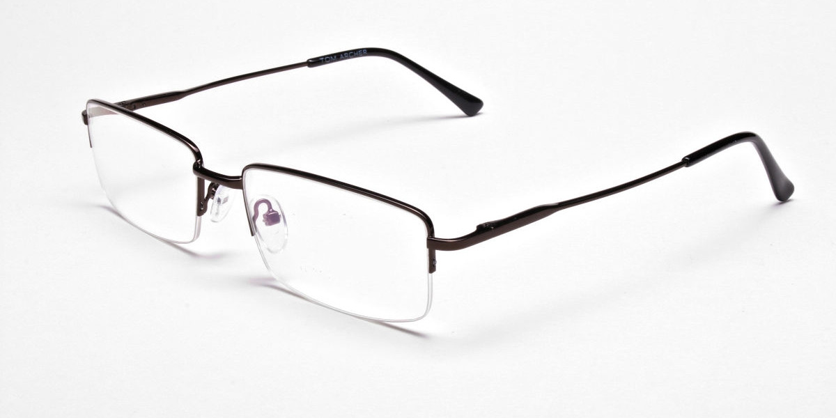 Rectangular Glasses in Brown, Eyeglasses - 1