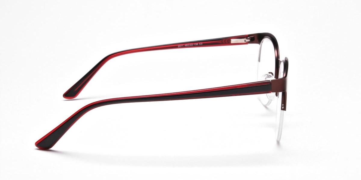 Browline Eyeglasses in Burgundy, Eyeglasses - 1