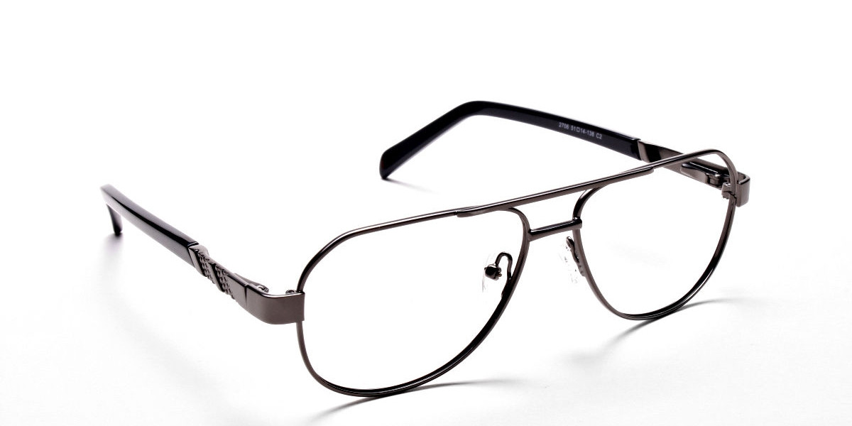 Gunmetal Aviator Glasses, Eyeglasses