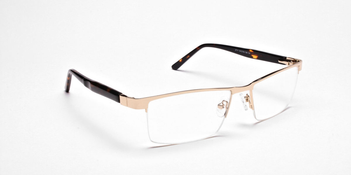 Rectangular Glasses in Gold, Eyeglasses -1