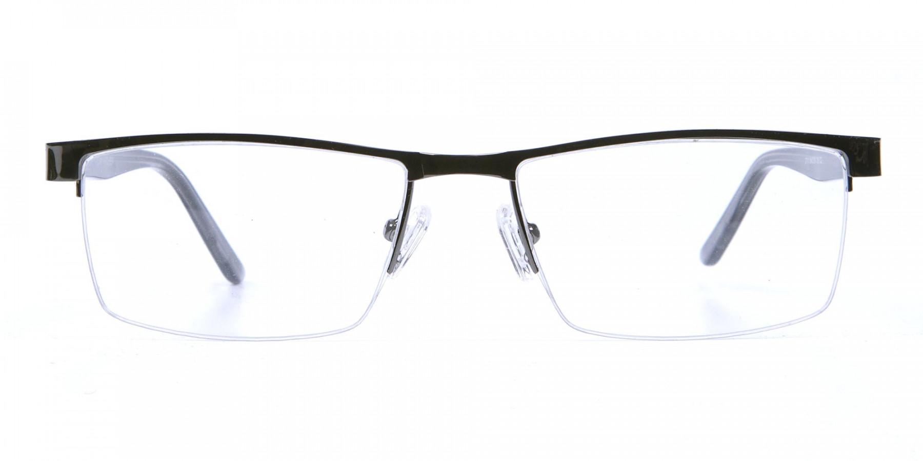 Rectangular Glasses in Gunmetal, Eyeglasses -1