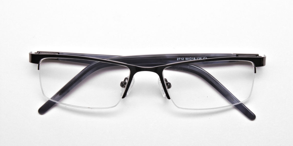 Rectangular Glasses in Gunmetal, Eyeglasses -1