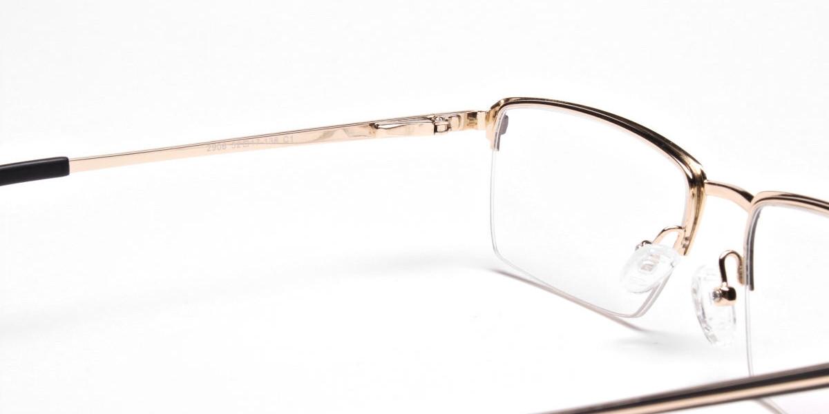 Black & Gold Rectangular Glasses, Eyeglasses