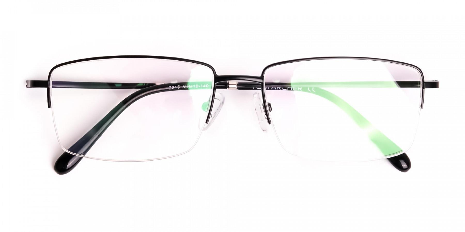 black-rectangular-metal-half-rim glasses-frames-1