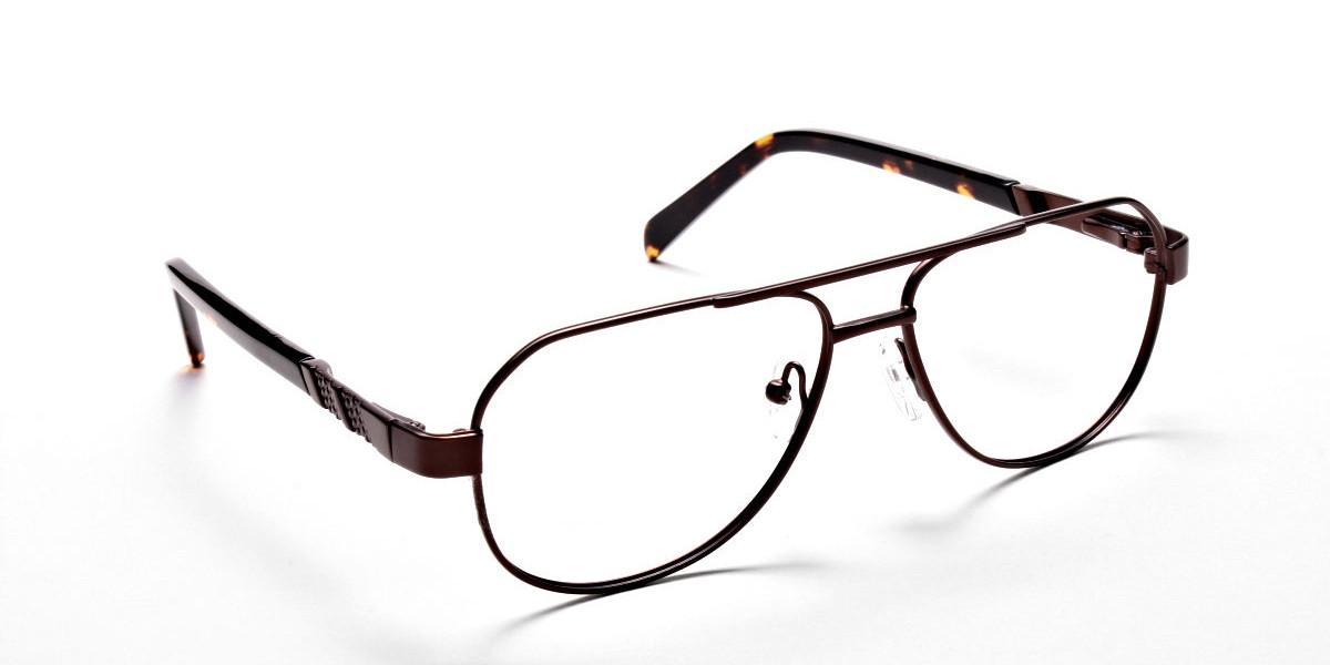 Brown Aviator Eyeglasses Frame, Eyeglasses