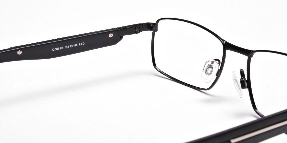 Black Matte Rectangular Glasses -1