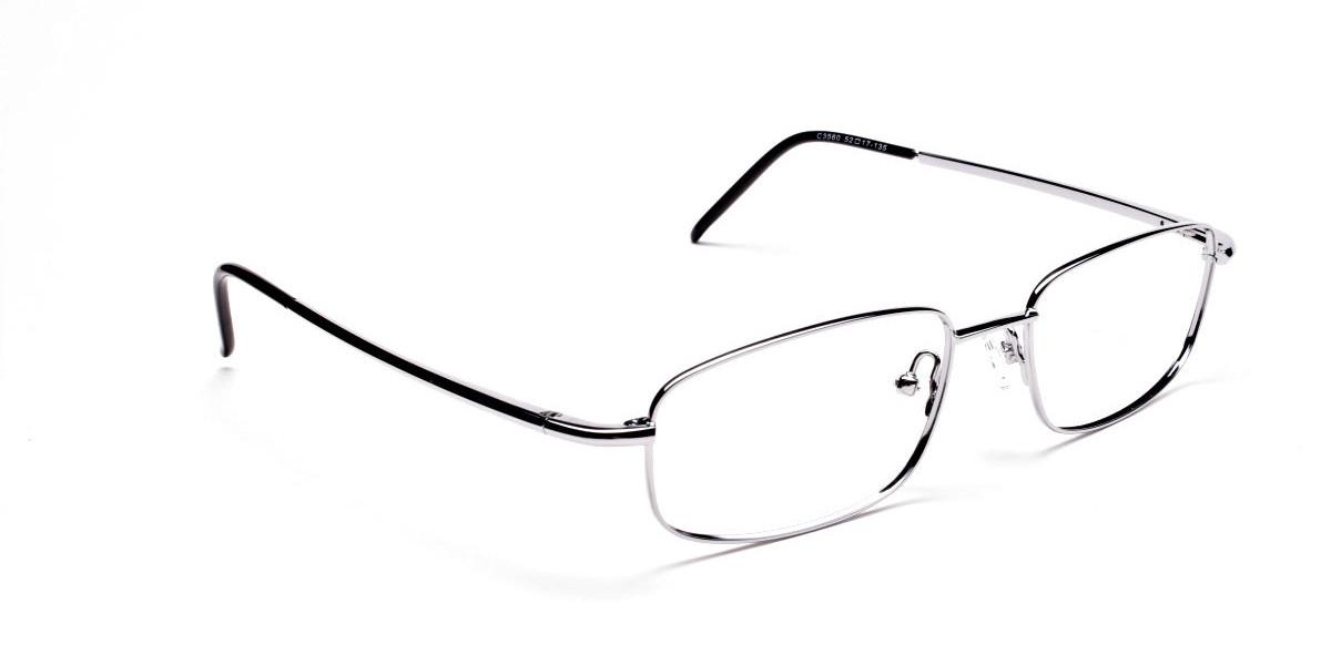 Silver Rectangular Eyeglasses Frame in Metal  - 1