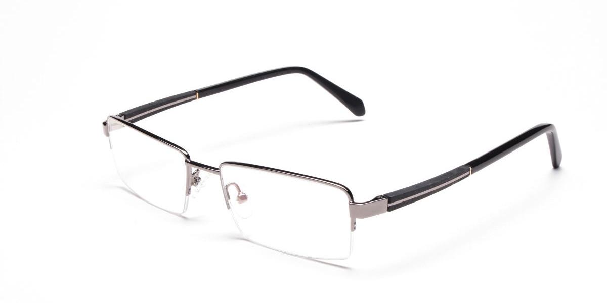 Gunmetal Rectangular Glasses, Eyeglasses