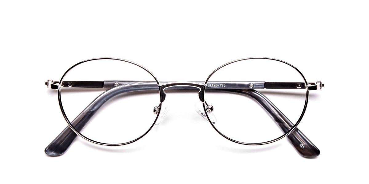 Round Glasses in Silver, Eyeglasses - 1