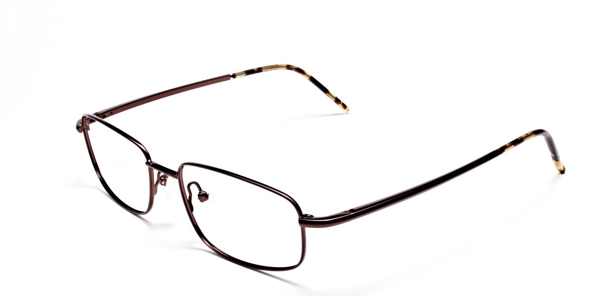 Rectangular Eyeglasses in Brown, Eyeglasses - 1