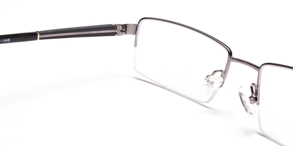 Gunmetal Rectangular Glasses, Eyeglasses
