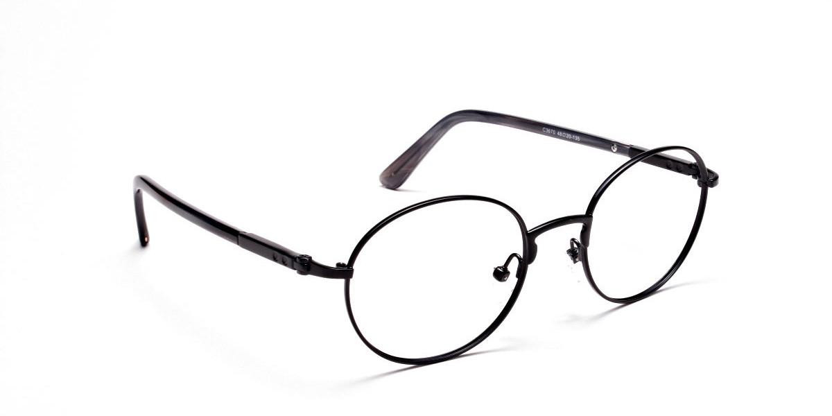 Round Glasses in Black, Eyeglasses - 1