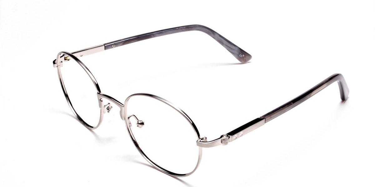 Round Glasses in Gunmetal, Eyeglasses - 1