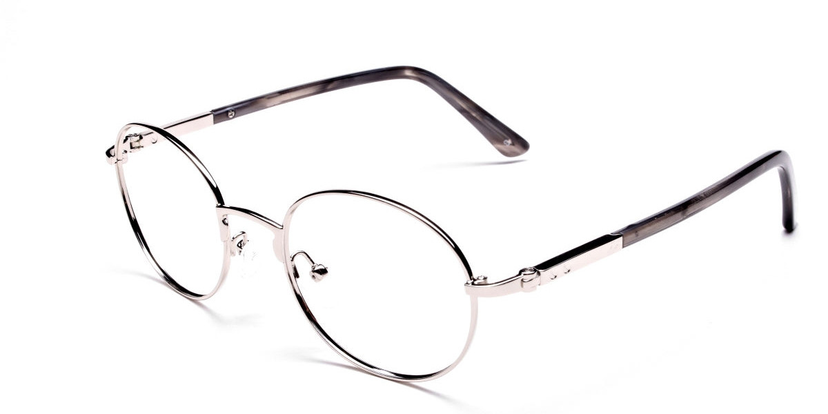 Round Silver Metal Glasses  - 1