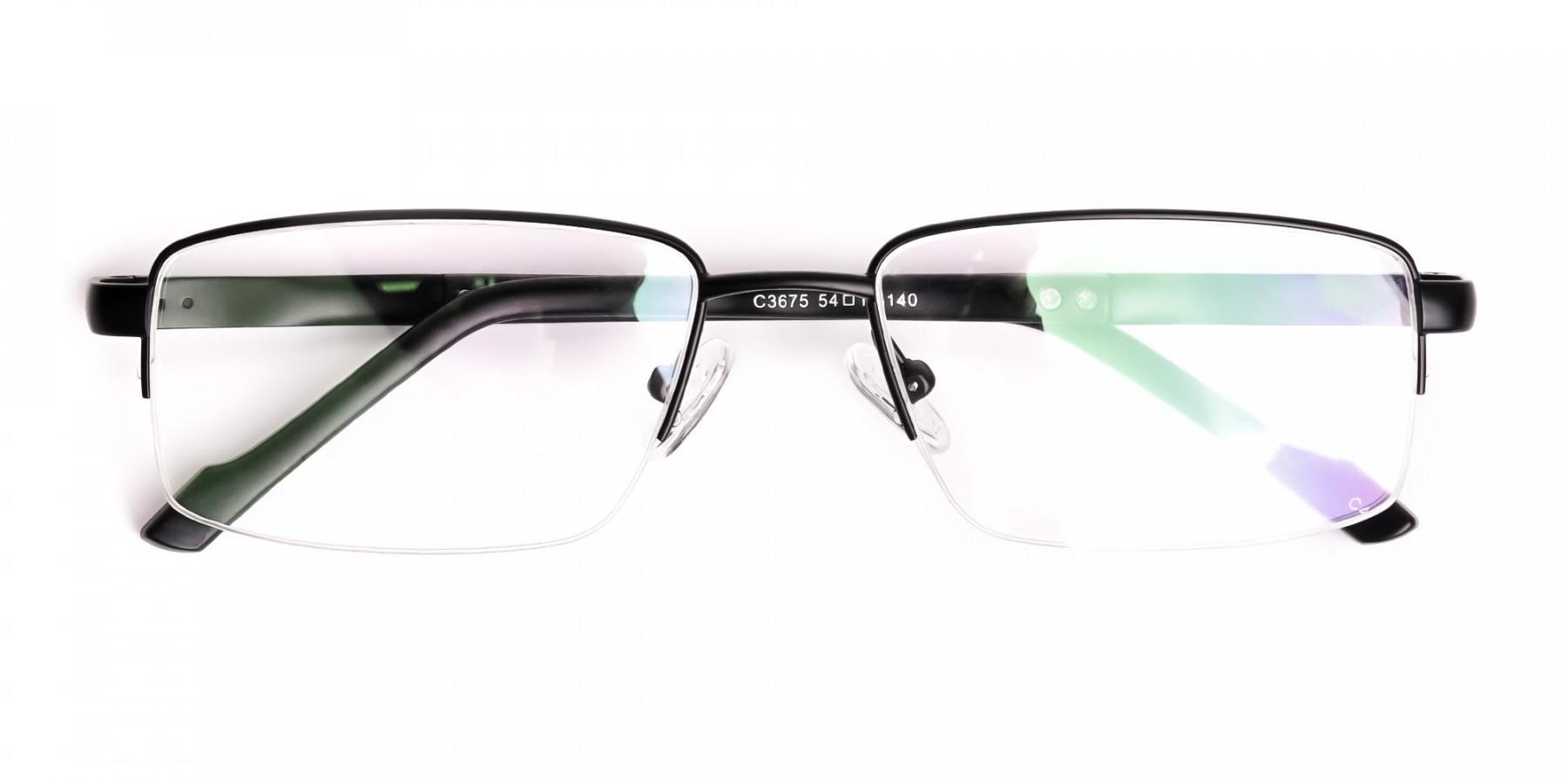 simple-black-half-rim-rectangular-glasses-frames -1