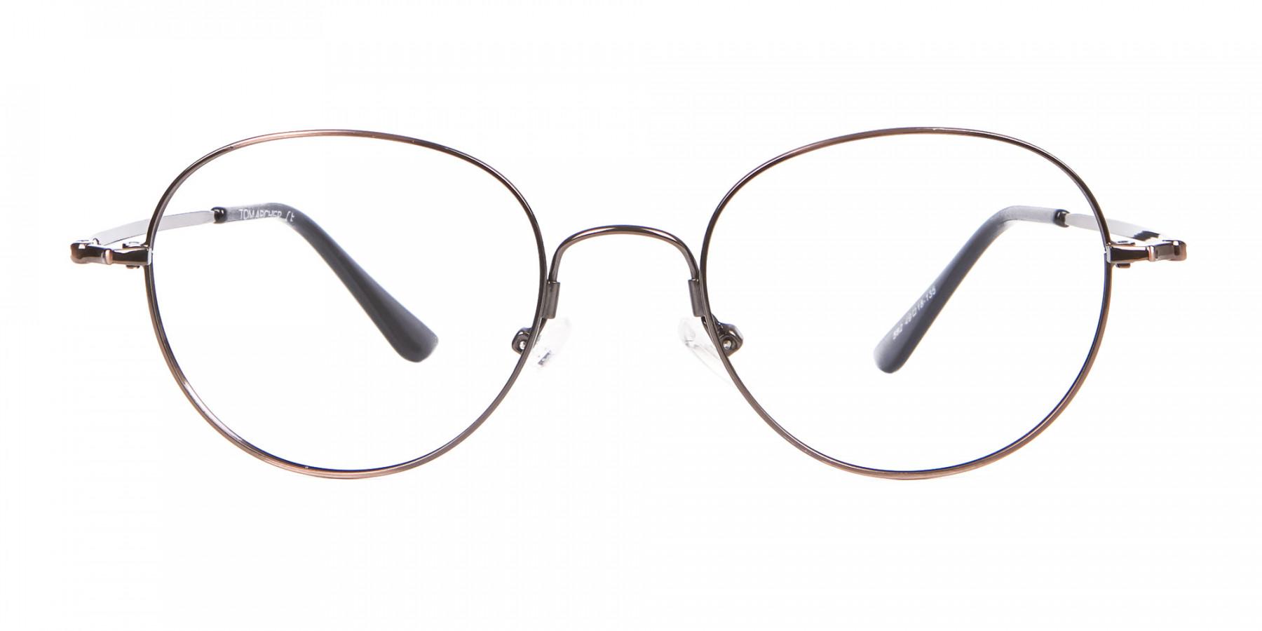 Thin Metal Retro Round Frame in Brown-1