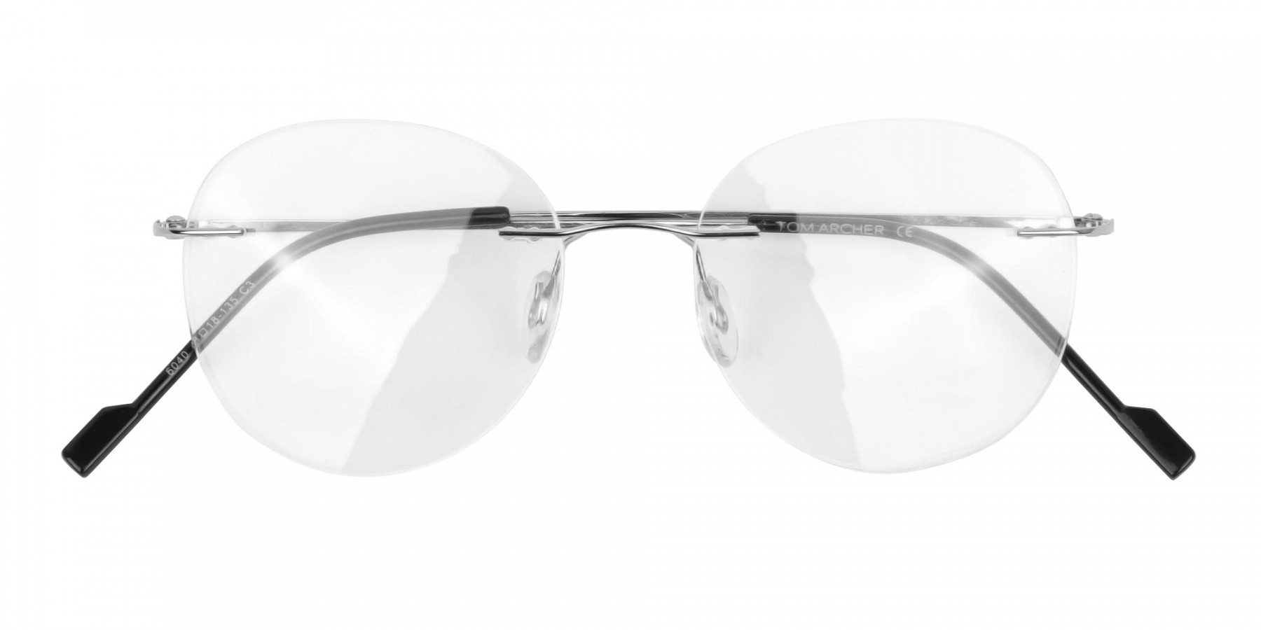 Silver Rimless Round Glasses in Metal-1