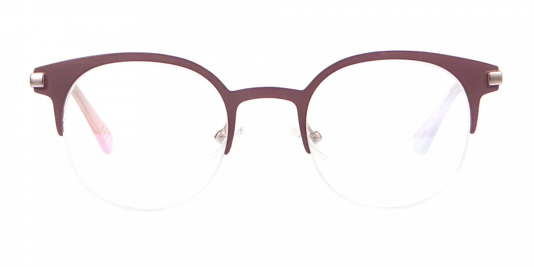 Woman 50's Retro Round Half-Rims Glasses UK-1