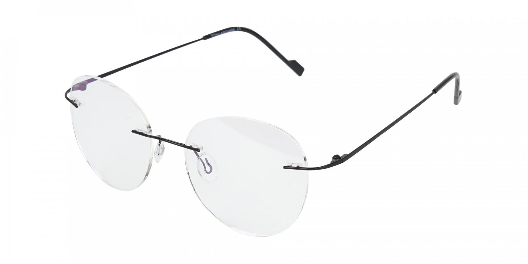 Black Rimless Round Glasses-1