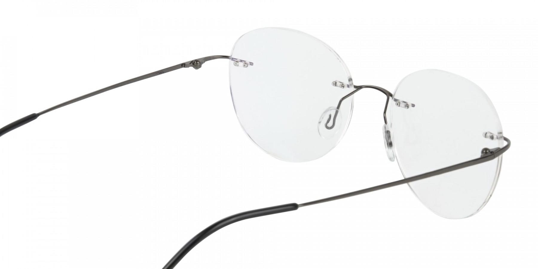 Gunmetal Rimless Round Glasses-1