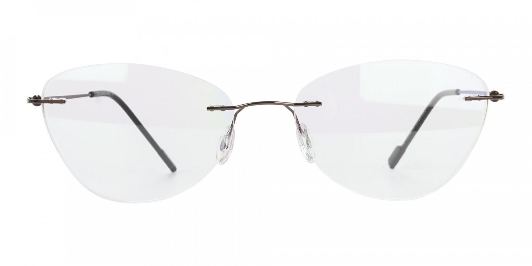 Rimless Cat-Eye Glasses in Brown Metal-1