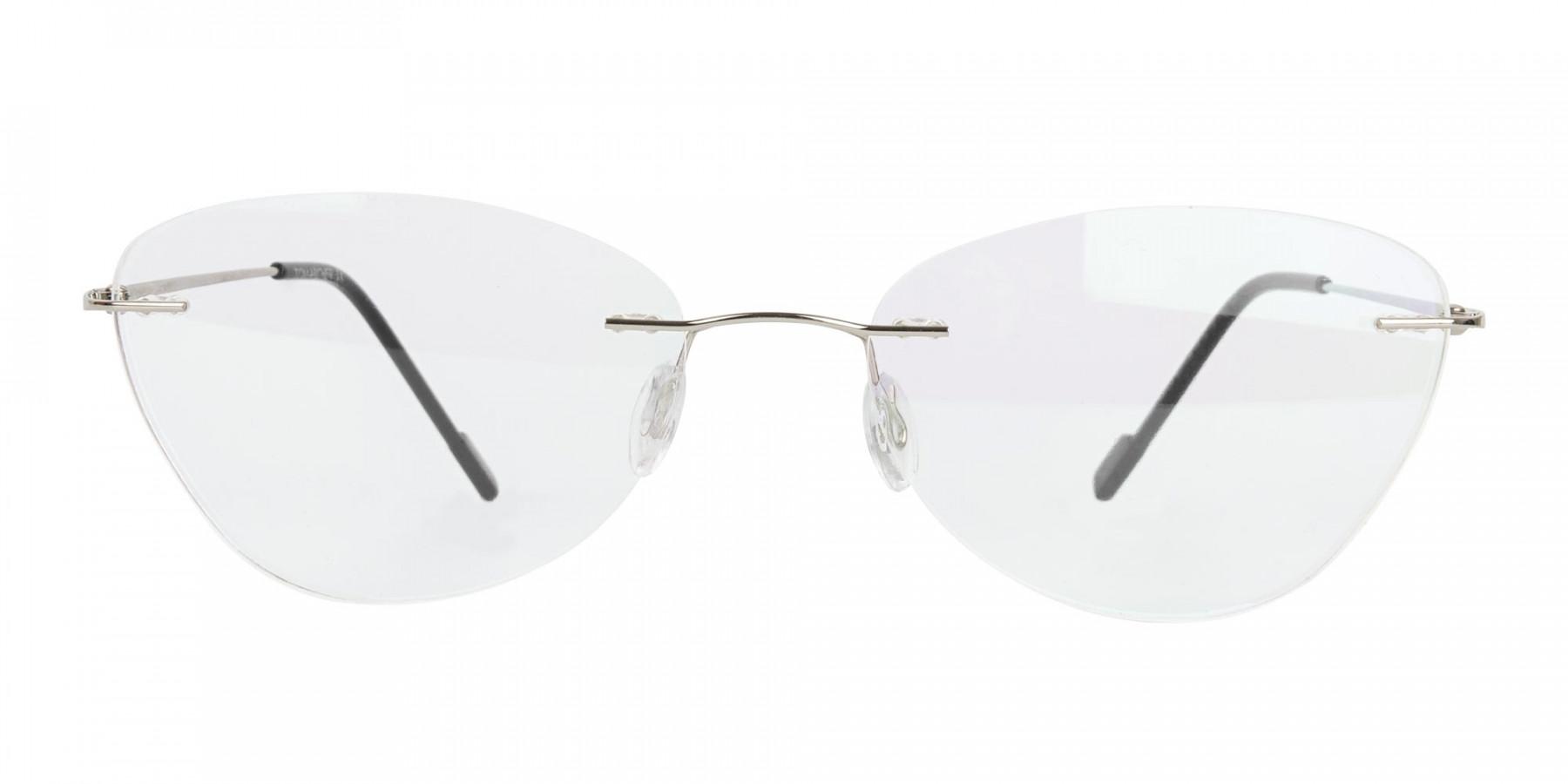 Rimless Cat-Eye Glasses in Silver Metal-1