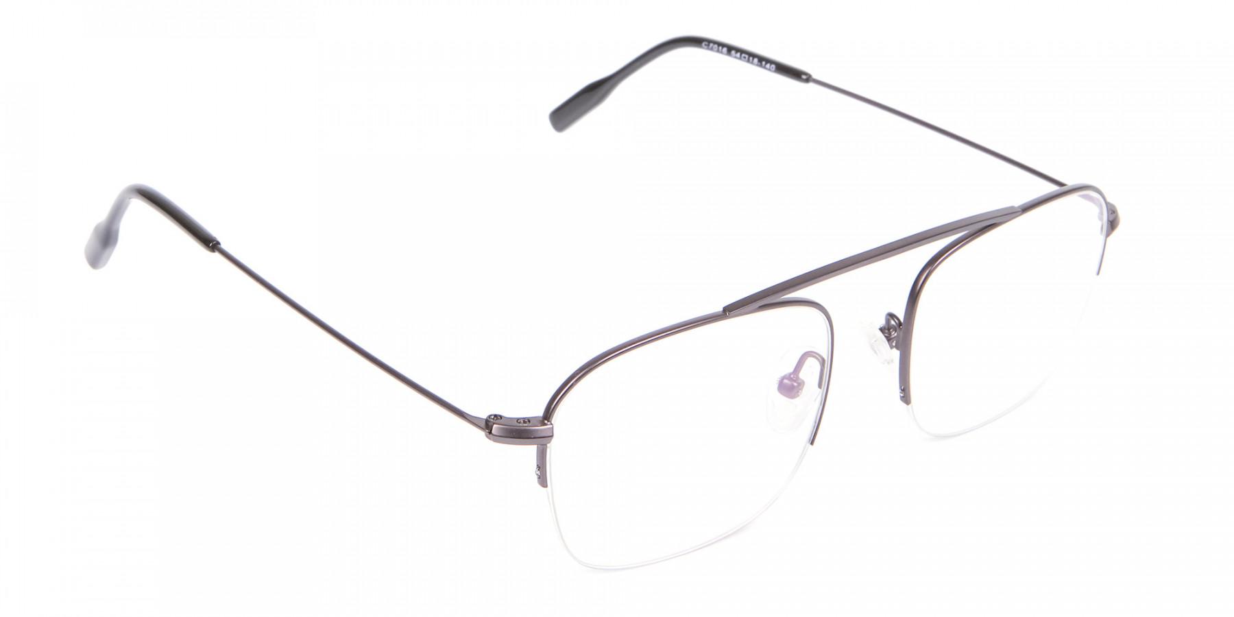 Gunmetal Browbar Half Rim Glasses Online UK-1