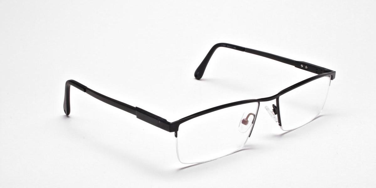Black Rectangular Chic Half-Rim Frames-1