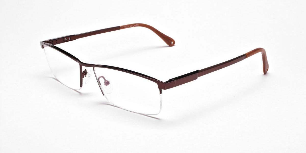 Luscious Chocolate Brown Half-Rim Frame -1