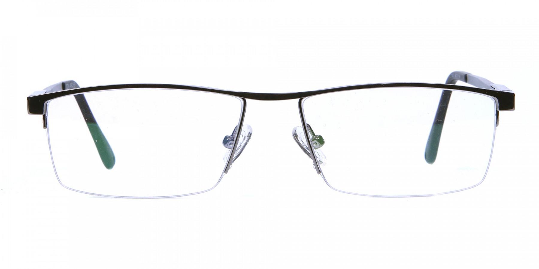 Classic Collection Gunmetal Rectangular Glasses -1
