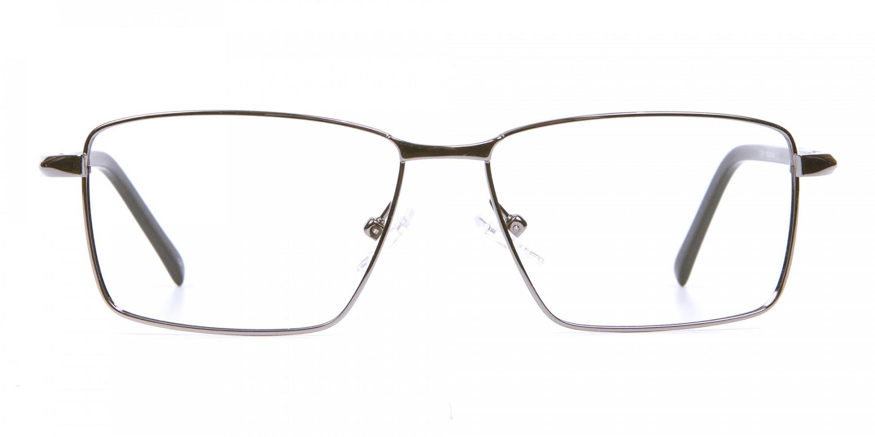 Rectangular Glasses in Gunmetal for Men & Women -1