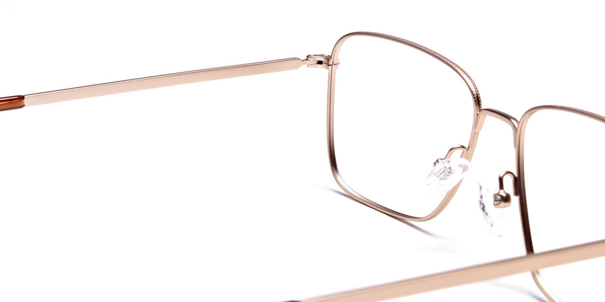 Gold Tortoiseshell Rectangular Glasses, Eyeglasses