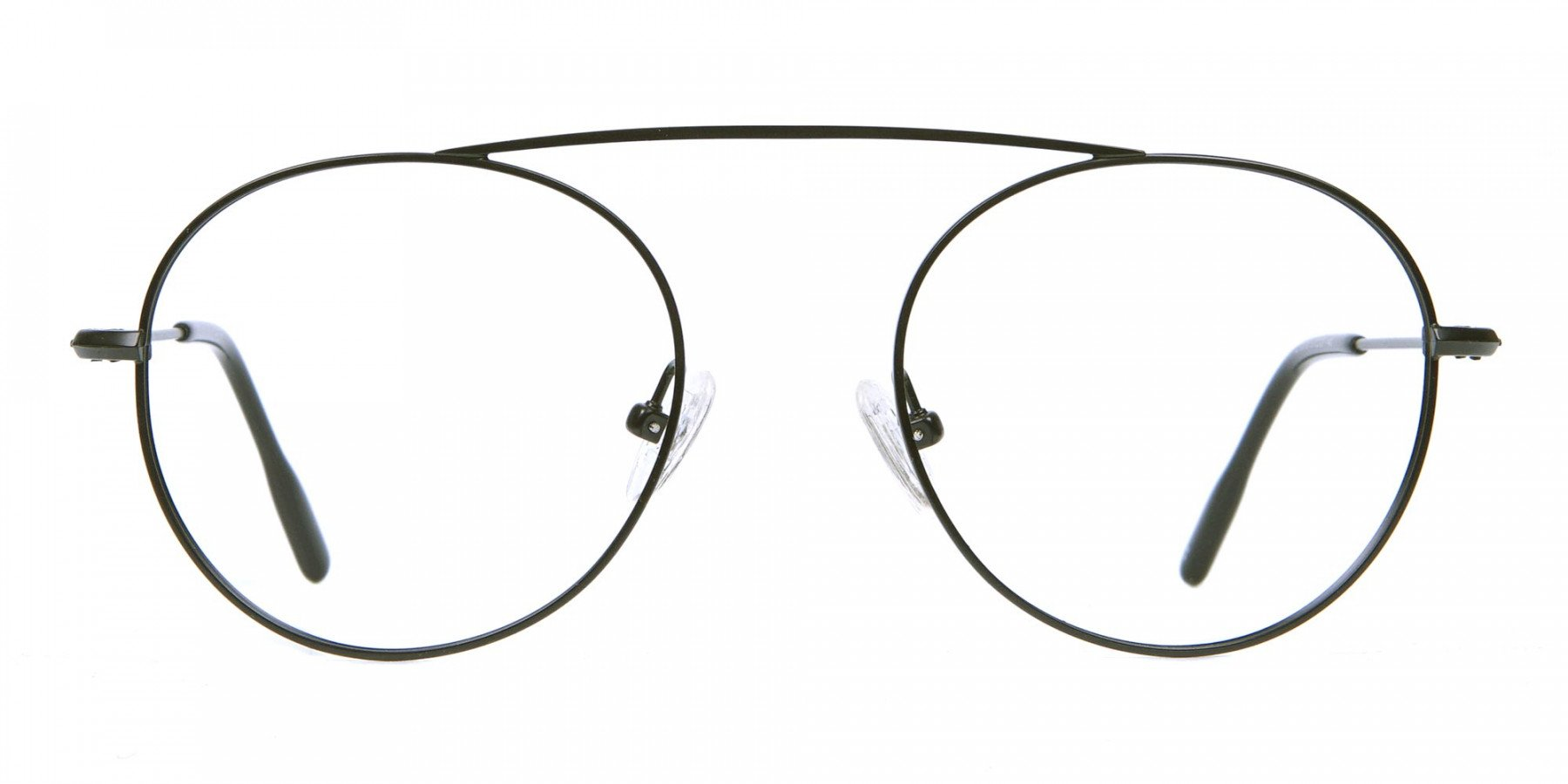 Glasses Without Nose Bridge in Black Metal - 1