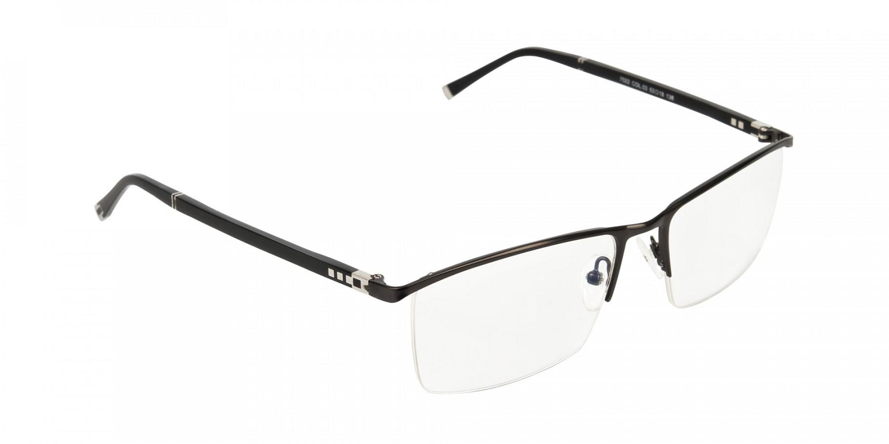 Black Semi-Rimless Glasses in Rectangular-1