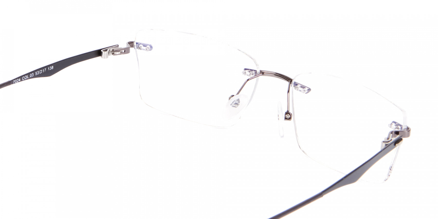 Gunmetal Rimless Rectangular Frame UK-1