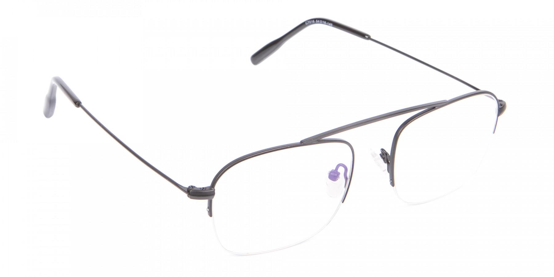 Trendy Designer Half-rimmed Black Frame UK-1