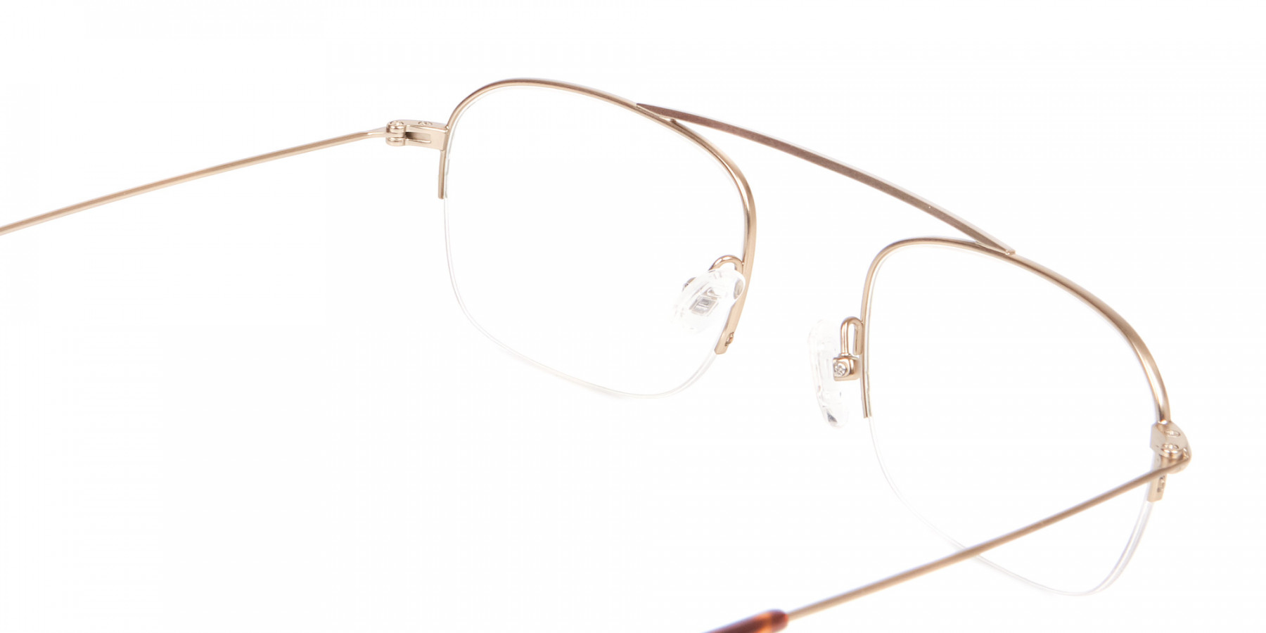 Gold Featured Metal Half-Rimmed Glasses-1