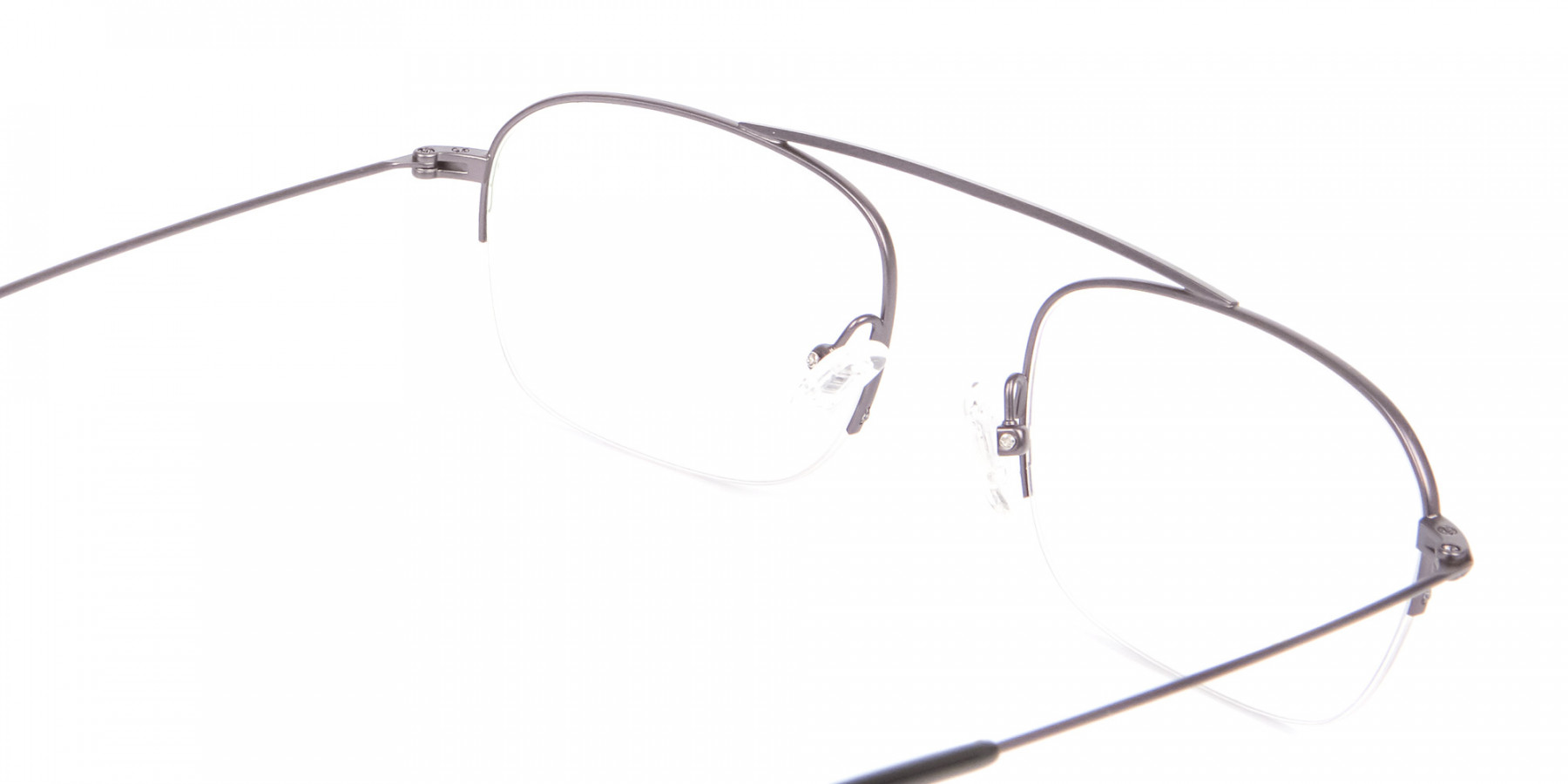 Gunmetal Browbar Half Rim Glasses Online UK-1