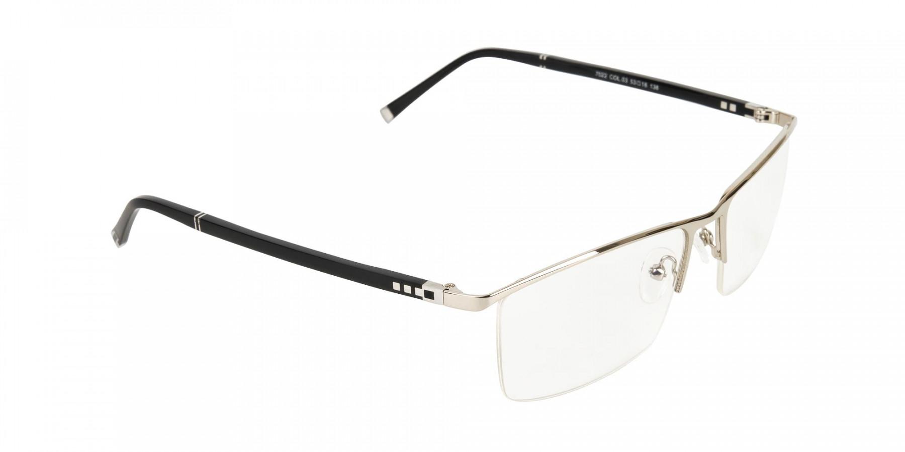 Silver and Black Semi-Rim Glasses-1