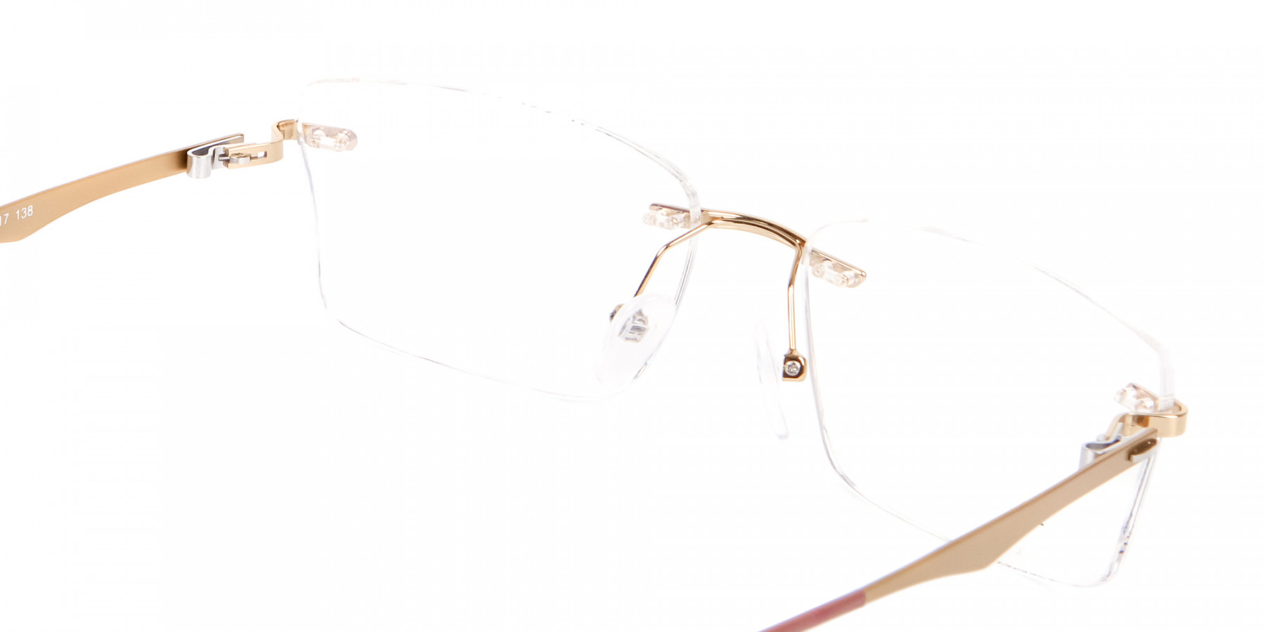 Detail Rimless Rectangular Gold Spring Hinge-1