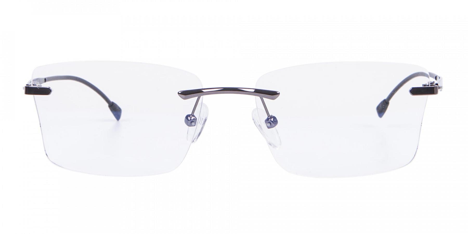 Gunmetal Rimless Rectangular Frame UK-1