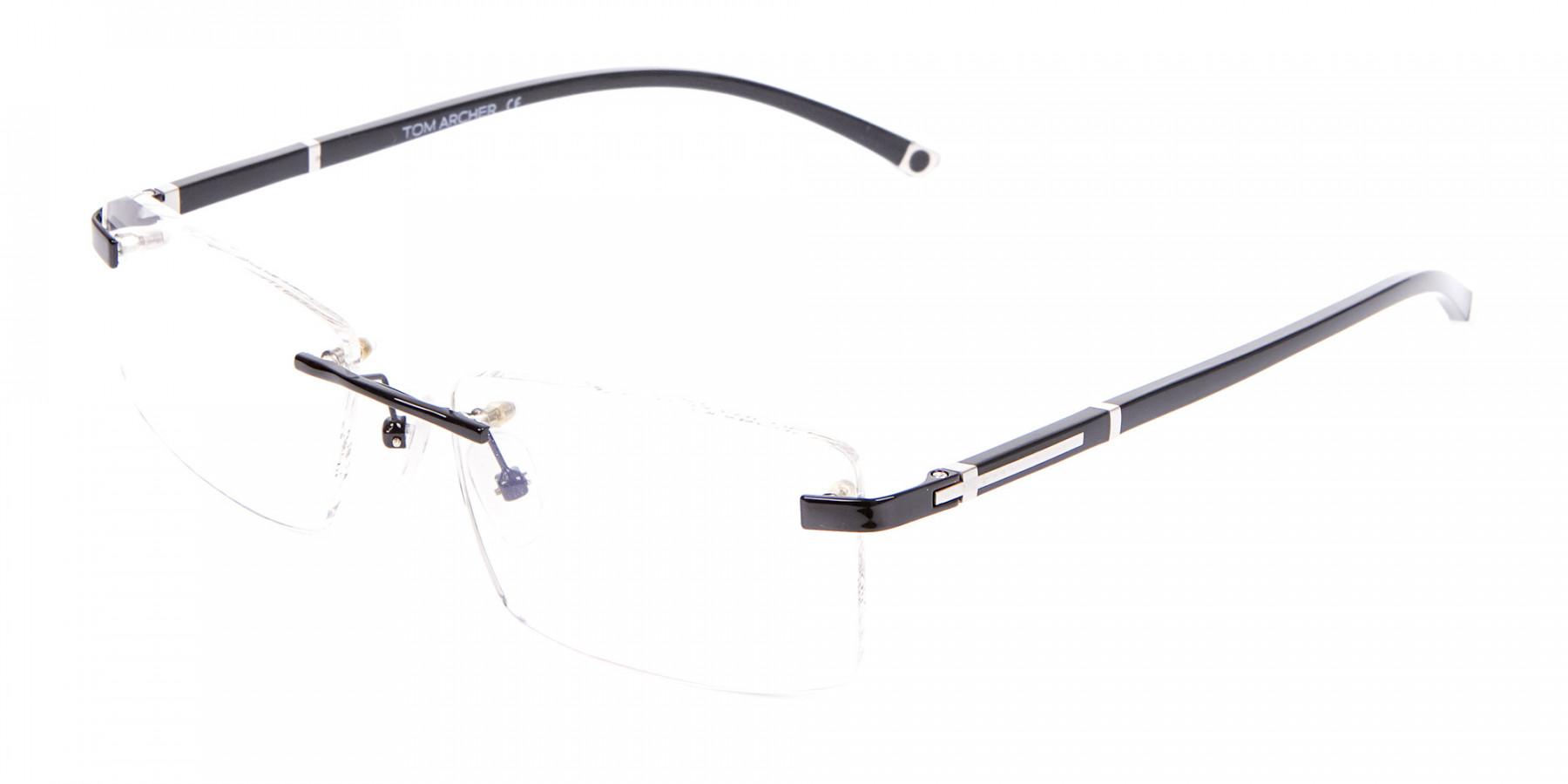 Frameless Glasses Black & Silver, Glasses UK-1