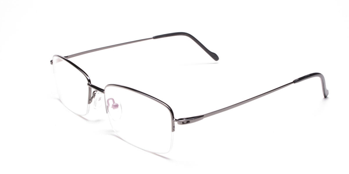 Rectangular Eyeglasses in Gunmetal, Eyeglasses - 1