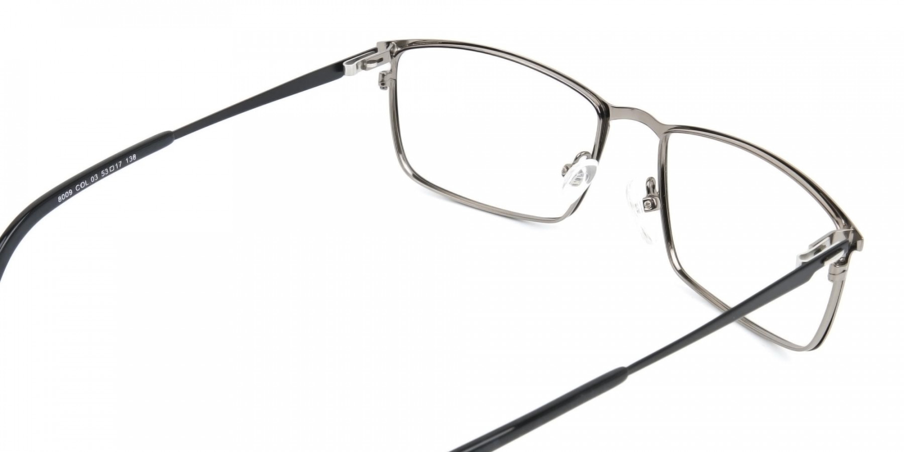 Gunmetal Rectangular Glasses with Black Temple-1