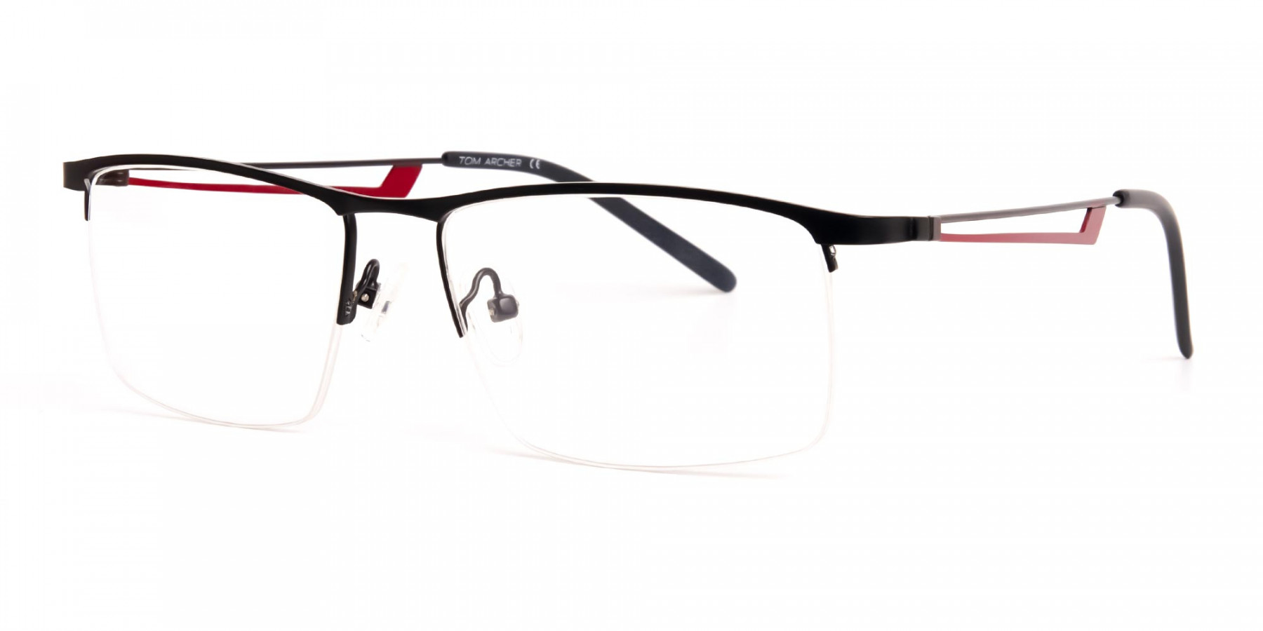 black and red half-rim rectangular glasses frames-1