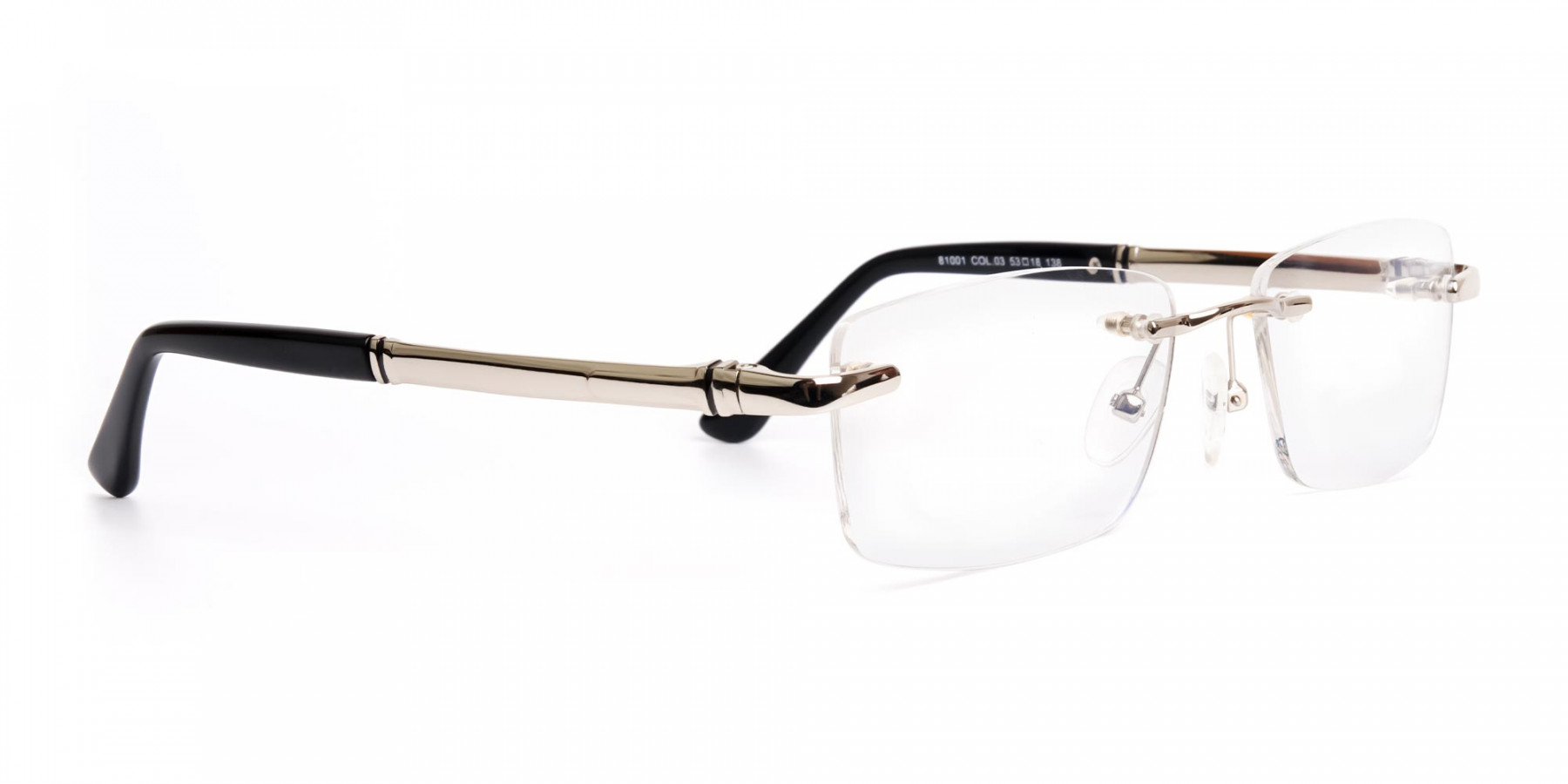 silver and black rectangular rimless glasses frames-1